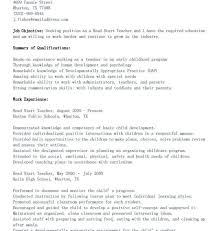 Head Start Teacher Assistant Sample Resume Impressive Head Start Lesson Plan Template Example Of Resume For Teachers