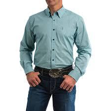Cinch Mens Teal Printed Western Button Down Shirt