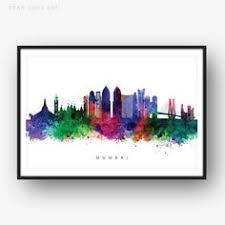 mumbai skyline multicolor watercolor print cityscape art print wall art art on manchester skyline wall art with manchester skyline manchester england cityscape england art print