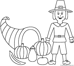 Small Picture Horn of Plenty with pilgrim Coloring Page Thanksgiving