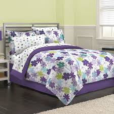graphic daisy 8 piece bed in a bag with sheet set blue purple