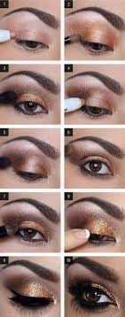 for this shimmery look all you need is an eye makeup brush pen eye shadow and golden shiny color pallet