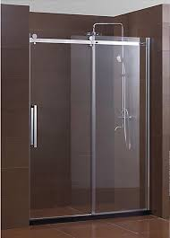 appealing frameless glass shower door with stainless handle