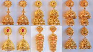 Madrasi Gold Jhumka Designs Latest Gold Pinjara Jhumka Earrings Designs With Weight Price