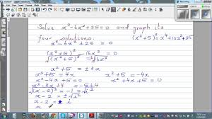solving and graphing solution of equation x 4 6x 2 25 0