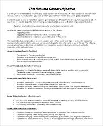 Professional Objective In Resume General Resume Objective Sample 9 Examples In Pdf