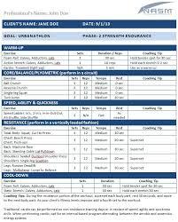 Urbanathlon Personal Training Programs Workout Template