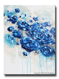 blue flower print wall art
