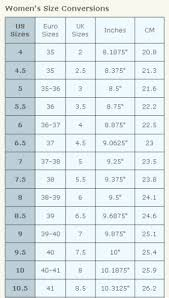 Shoe Size Conversion Chart Women Girls Clothing Stores