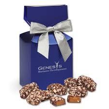 english er toffee in metallic blue gift box