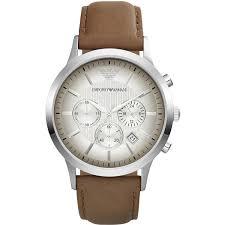 emporio armani mens chronograph watch brown leather strap white emporio armani mens chronograph watch brown leather strap white dial ar2471