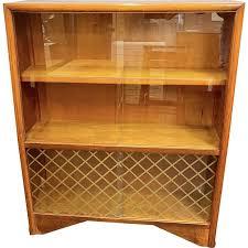 vintage bookcase glass cabinet 1950