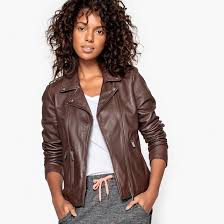 la redoute collections women leather biker jacket shawl collar zip fastening 100 leather lining 100