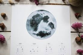 Moon Phase Calendar 2020 Lunar Calendar Moon Calendar Poster