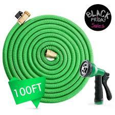 deluxe 100 feet expandable flexible garden water hose w spray nozzle green
