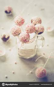 White Pink Cake Pops Mason Jar Stock Photo Locrifa 222927832