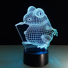 Frog Lights Led Us 12 47 23 Off The Frog Acrylic 3d Night Light Led Stereo Vision Lamp 7 Colors Changing Usb Bedroom Bedside Night Light Baby Creative Gifts In Led