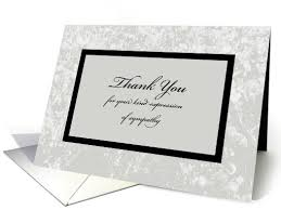 Thank You Sympathy Cards Sympathy Or Funeral Thank You Card Classic Sympathy Thank You Card