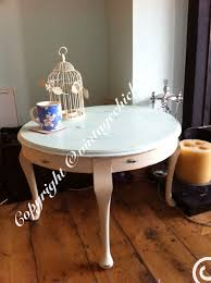 Shabby Chic White Coffee Table Large Round Shabby Chic Coffee Table Duckegg Top And Cream Queen