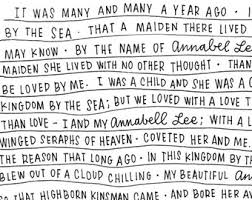 annabel lee print  annabel lee by edgar allen poe hand lettered print