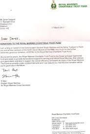 Royal Marines Association North Devon Appreciation Letters