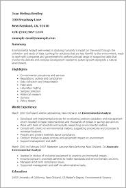 Resume Templates: Environmental Analyst