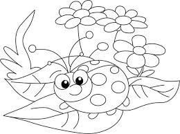 Small Picture Lady Bug and Three Beautiful Flower Coloring Page Color Luna