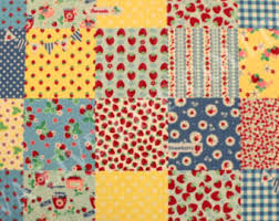 Quilting Weight Cotton Fabric designed by Valorie Wells for Free ... & Yuwa blue yellow Strawberry Square
