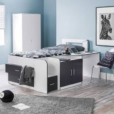 cookie white and charcoal grey wooden cabin bed