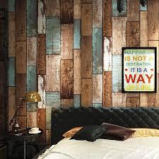 retro wood board striped wallpaper roll papel de parede 3d wood grain clothing restaurant wall decor wallpaper living room high quality wallpaper li