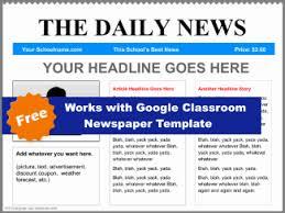 Classroom Newspaper Template Download Google Classroom Newspaper Template Blue