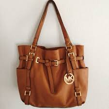 michael kors brown large leather handbag