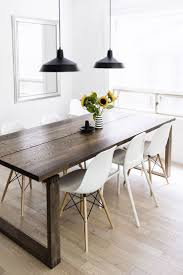Scandinavian-inspired dining room - Mrbylnga table, Eames chairs, black  warehouse pendant lamps