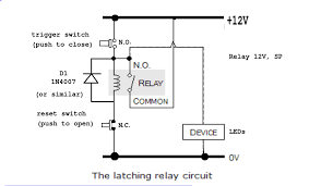 ac how to make a latching unlatching relay circuit with 240v how to make a latching relay circuit at 12 Volt Latching Relay Diagram
