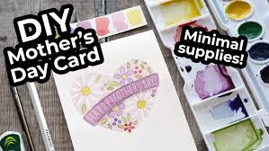easy diy watercolor card mother s day minimal supplies needed kwernerdesign blog