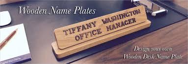 custom wood desk name plate