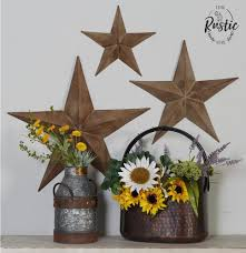 rustic metal star set barn antique vintage texas tin wall decor