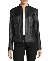 quick look neiman marcus leather collection lace up leather moto jacket