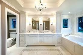 built in bathroom cabinets vanity cabinet traditional with bath chandelier crystal custom pre made