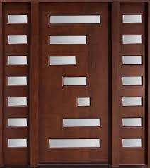 Modern Front Door Custom Single with 2 Sidelites Solid Wood with