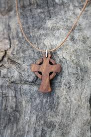 wooden cross celtic pendant for men celtic cross necklace