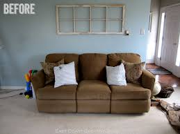 sofa table behind couch against wall. Faux Sofa Table {Tutorial} Behind Couch Against Wall