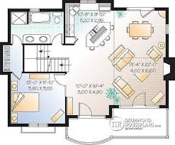 House plan W detail from DrummondHousePlans com    st level Ski chalet   master bedroom on first floor and open floor plan layout