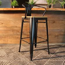 wooden seat bar stools. Tolix Bar Stool With Armrest And Wood Seat - 75 Cm Wazo Furniture Wooden Stools N