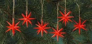 Christbaumschmuck Aus Holz Rot Kleine Weihnachtssterne 6 Teilig