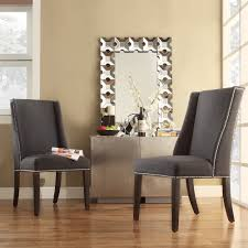 Overstock Living Room Chairs Inspire Q Geneva Dark Grey Fabric Wingback Hostess Chairs Set Of