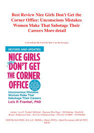 Best Careers For Women Best Review Nice Girls Dont Get The Corner Office