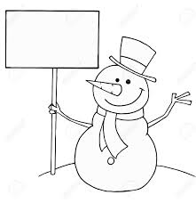 Black And White Coloring Page Outline Of A Snowman Holding A