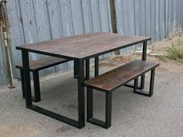 Amazoncom Steel And Reclaimed Wood Dining Set Urban Table Modern
