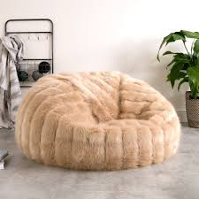 fur bean bag champagne to zoom